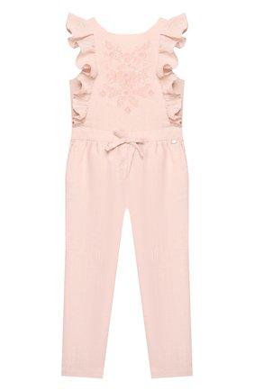 Детский льняной комбинезон TARTINE ET CHOCOLAT светло-розового цвета, арт. TQ32002 | Фото 1