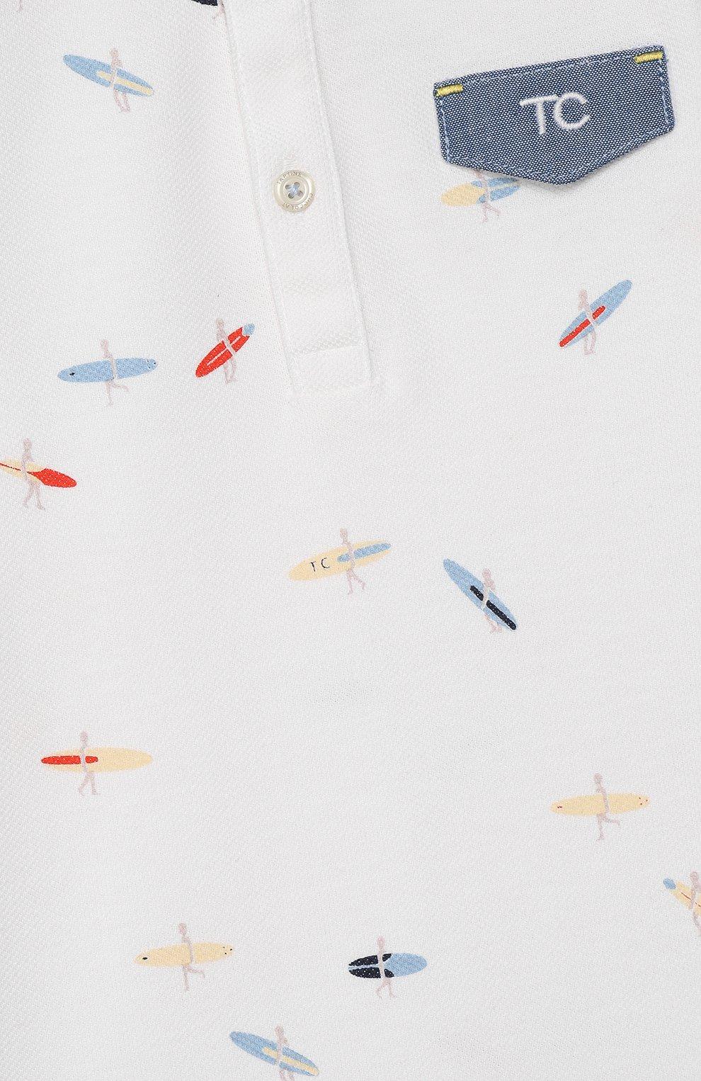 Детское хлопковый комбинезон TARTINE ET CHOCOLAT белого цвета, арт. TQ33171/18M-3A   Фото 3
