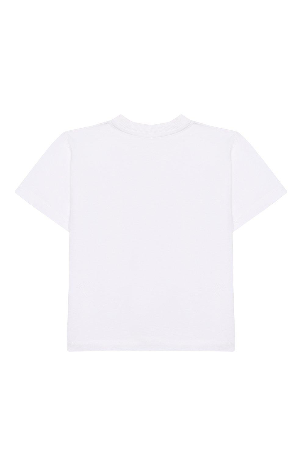 Детская хлопковая футболка MOSCHINO KID белого цвета, арт. HQM02D/LAA12/4A-8A   Фото 2