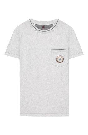 Детская хлопковая футболка BRUNELLO CUCINELLI серого цвета, арт. B0B13T110C   Фото 1