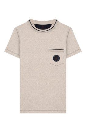 Детская хлопковая футболка BRUNELLO CUCINELLI бежевого цвета, арт. B0B13T110C | Фото 1
