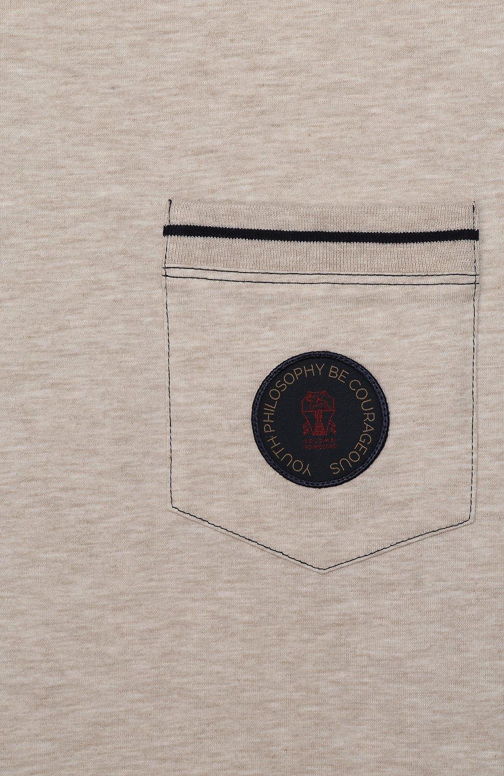 Детская хлопковая футболка BRUNELLO CUCINELLI бежевого цвета, арт. B0B13T110C | Фото 3