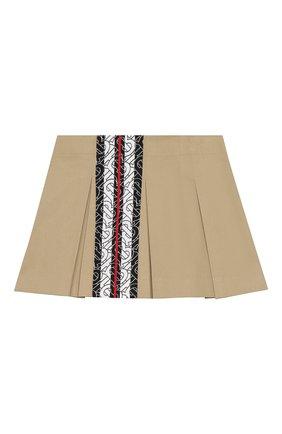 Детская хлопковая юбка BURBERRY бежевого цвета, арт. 8028456 | Фото 2