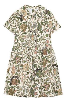 Детское хлопковое платье BURBERRY зеленого цвета, арт. 8026382   Фото 1