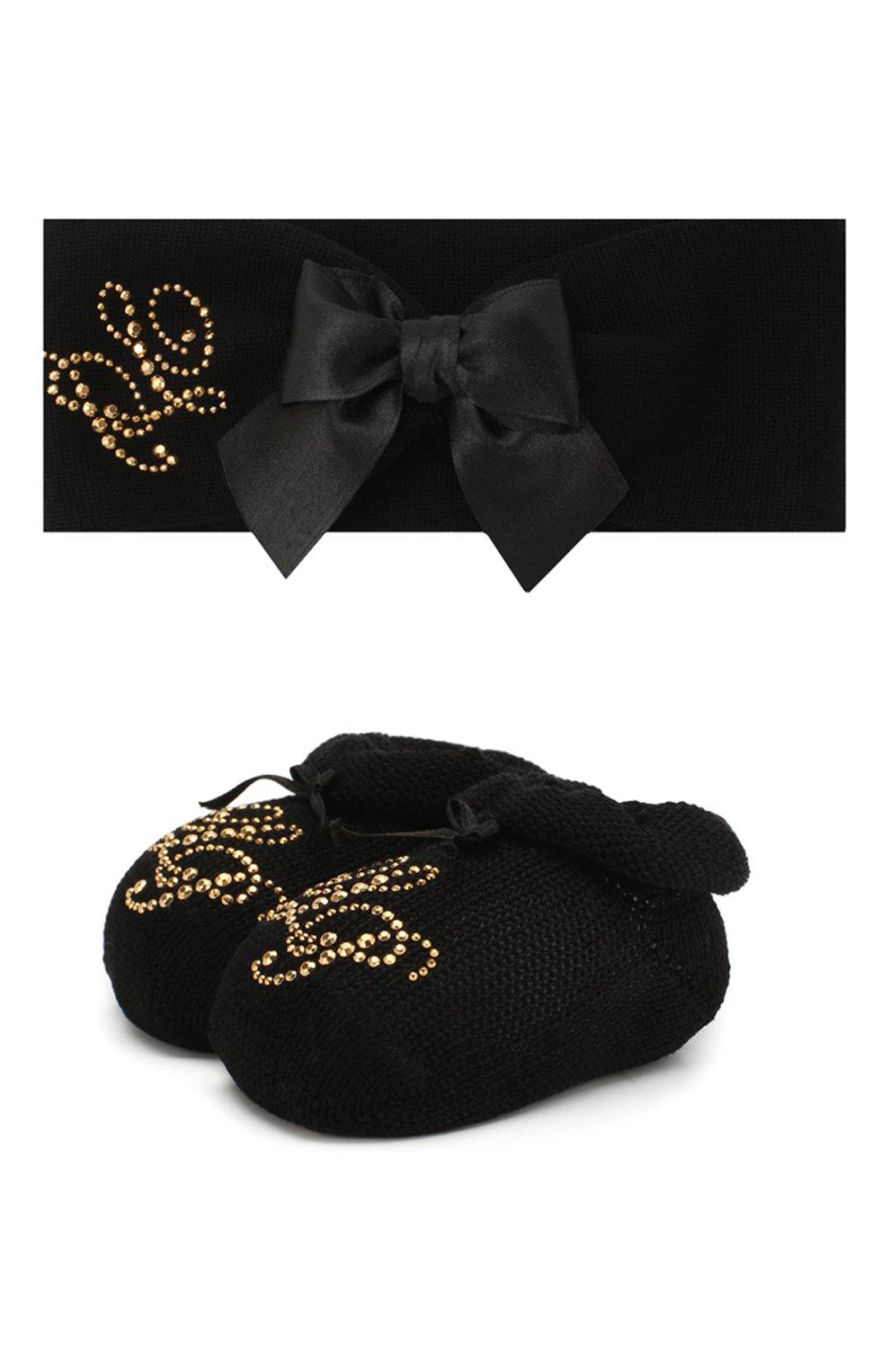 Детский комплект из пинеток и повязки LA PERLA черного цвета, арт. 48796 | Фото 1