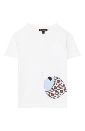 Детская хлопковая футболка LORO PIANA белого цвета, арт. FAI9442 | Фото 1