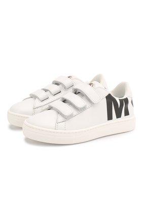 Детские кожаные кеды MONCLER белого цвета, арт. F1-954-4M704-20-01AD1 | Фото 1
