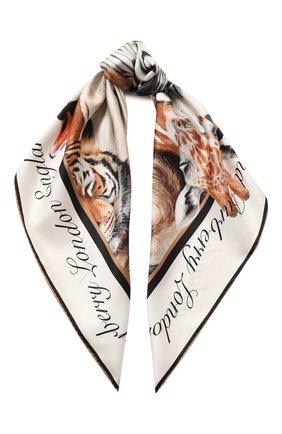 Женский шелковый платок BURBERRY бежевого цвета, арт. 8027362 | Фото 1