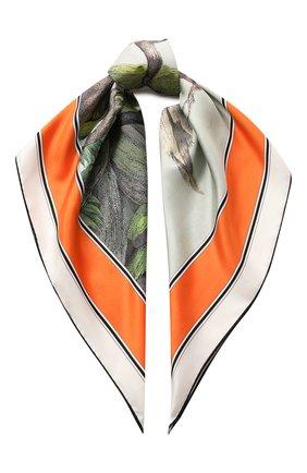 Женский шелковый платок BURBERRY зеленого цвета, арт. 8027360 | Фото 1