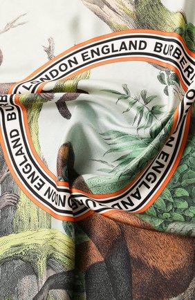 Женский шелковый платок BURBERRY зеленого цвета, арт. 8027360 | Фото 2
