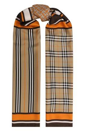 Мужские шелковый шарф BURBERRY оранжевого цвета, арт. 8026542 | Фото 1
