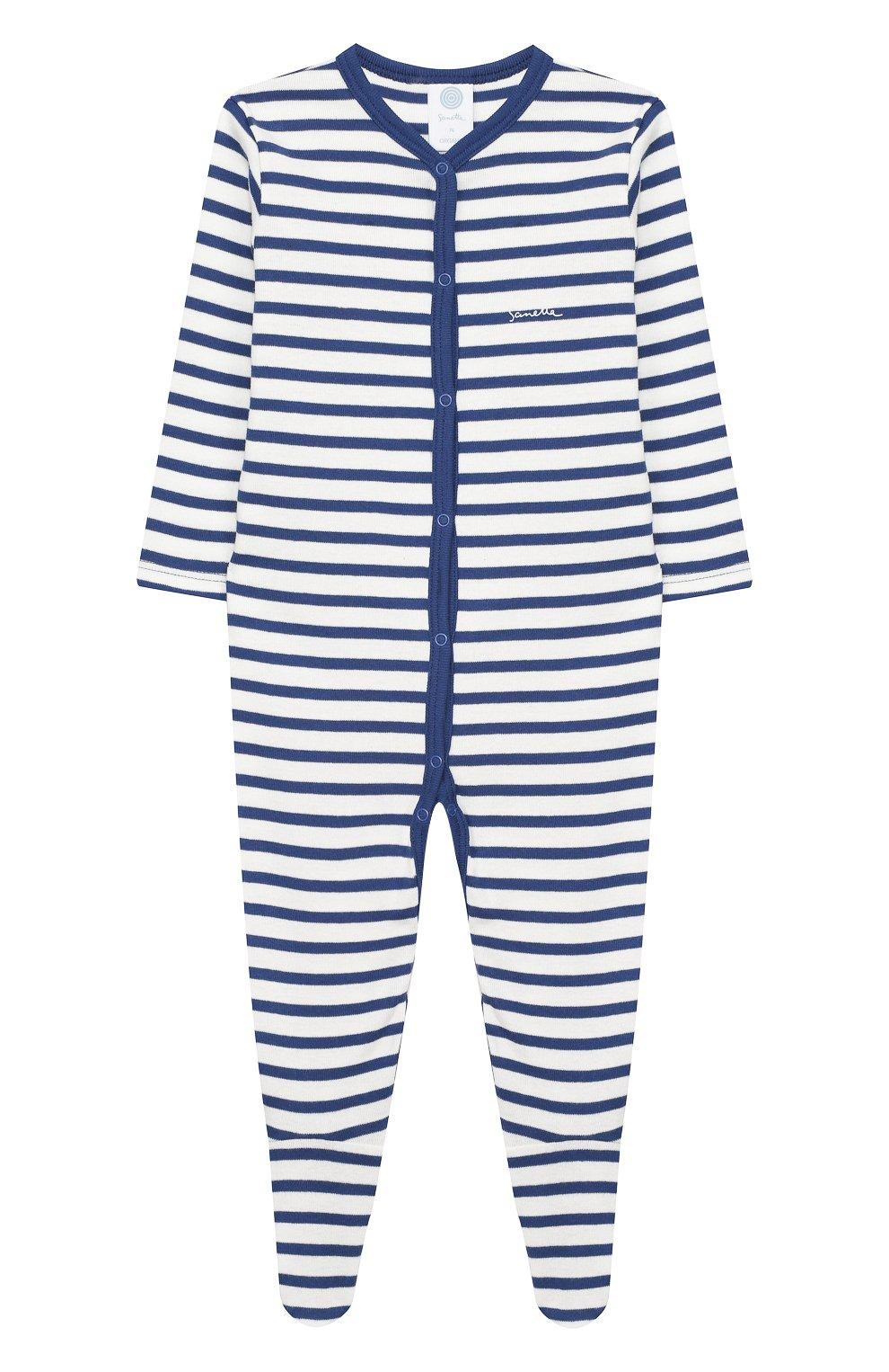 Детский хлопковый комбинезон SANETTA синего цвета, арт. 221553 50221 | Фото 1