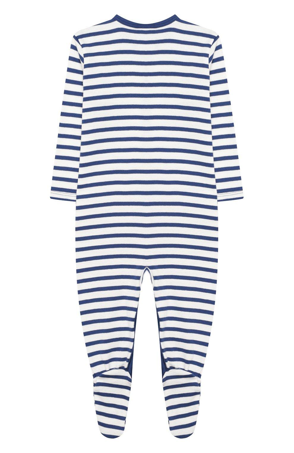 Детский хлопковый комбинезон SANETTA синего цвета, арт. 221553 50221 | Фото 2