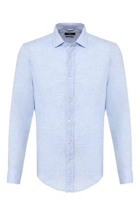 Мужская льняная рубашка BOSS голубого цвета, арт. 50429072 | Фото 1