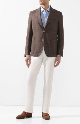 Мужская льняная рубашка BOSS голубого цвета, арт. 50429072 | Фото 2