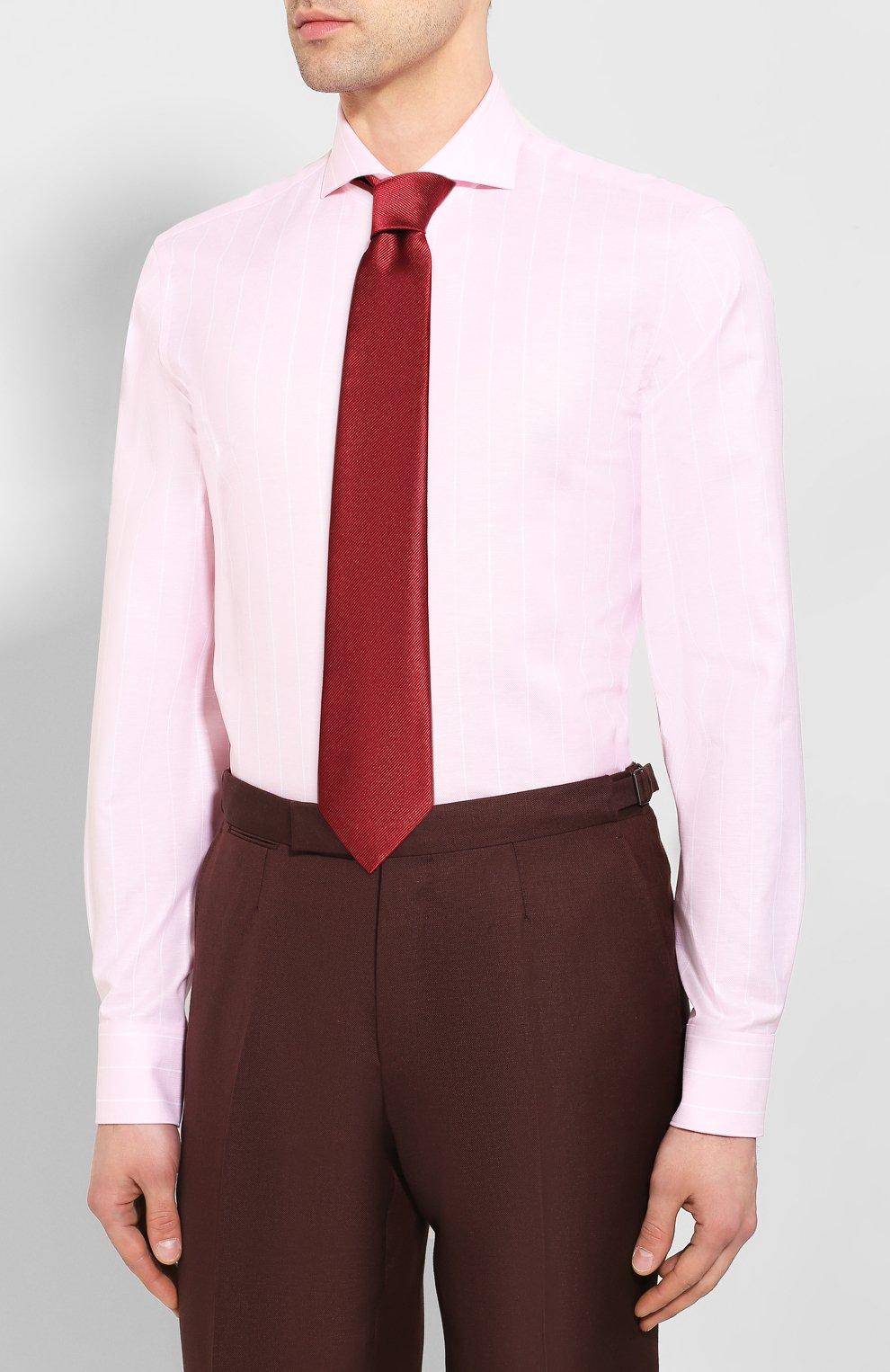 Мужская сорочка из смеси хлопка и льна VAN LAACK розового цвета, арт. MES0-SF/151804   Фото 4
