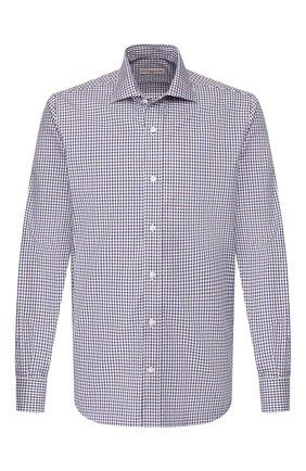 Мужская рубашка из смеси хлопка и льна LUCIANO BARBERA коричневого цвета, арт. 105489/60062 | Фото 1