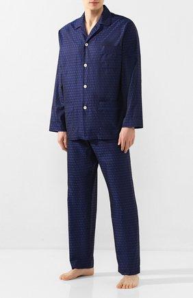 Мужская хлопковая пижама ROBERTO RICETTI темно-синего цвета, арт. PIGIAMA VENEZIA LUNG0/KING JACQUARD2539-604D | Фото 1