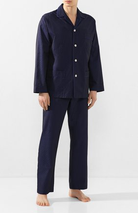 Мужская хлопковая пижама ROBERTO RICETTI темно-синего цвета, арт. PIGIAMA VENEZIA LUNG0/KING JACQUARD2576-604D | Фото 1