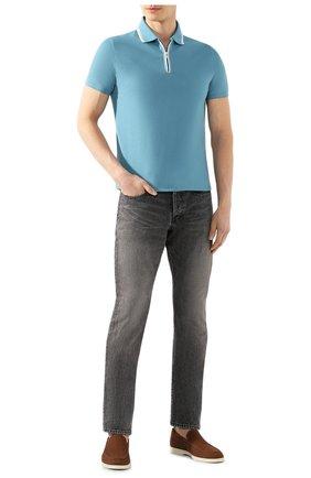 Мужское хлопковое поло LORO PIANA голубого цвета, арт. FAI0736 | Фото 2