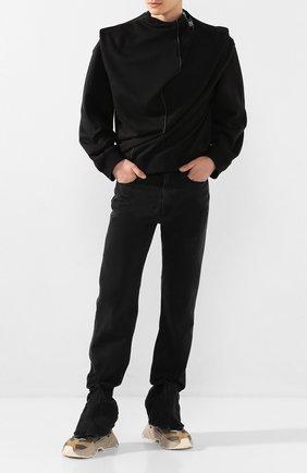 Мужской свитшот из смеси хлопка и льна Y/PROJECT черного цвета, арт. SWEAT35-S18 J22 | Фото 2