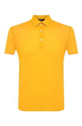 Мужское льняное поло LORO PIANA желтого цвета, арт. FAI1314 | Фото 1