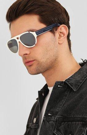 Мужские солнцезащитные очки MONCLER белого цвета, арт. ML 0095 21C 57 С/З ОЧКИ | Фото 2