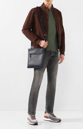 Мужская кожаная сумка-планшет DUNHILL темно-синего цвета, арт. DU20R3109AR | Фото 2
