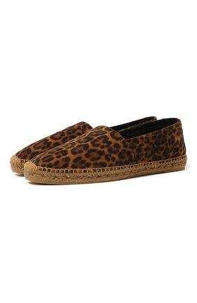 Мужские замшевые эспадрильи SAINT LAURENT леопардового цвета, арт. 605957/1FL20 | Фото 1