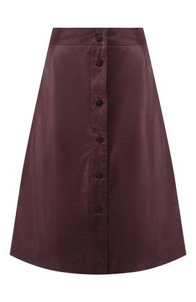 Женская кожаная юбка MASLOV бордового цвета, арт. UT10   Фото 1