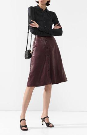 Женская кожаная юбка MASLOV бордового цвета, арт. UT10   Фото 2