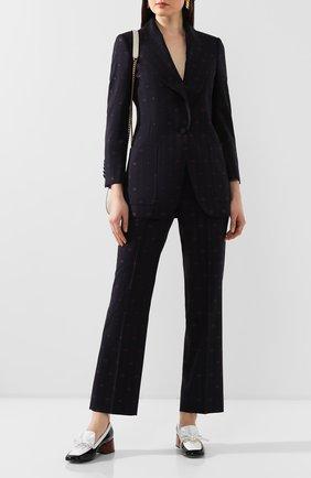Женские шерстяные брюки GUCCI синего цвета, арт. 595172/ZABJ0 | Фото 2