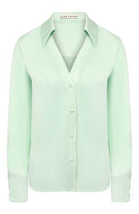 Женская шелковая блузка ALICE + OLIVIA светло-зеленого цвета, арт. CC002057016 | Фото 1