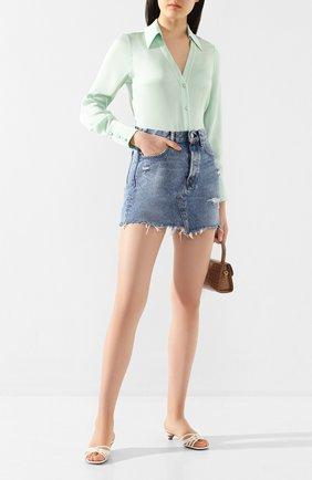 Женская шелковая блузка ALICE + OLIVIA светло-зеленого цвета, арт. CC002057016 | Фото 2