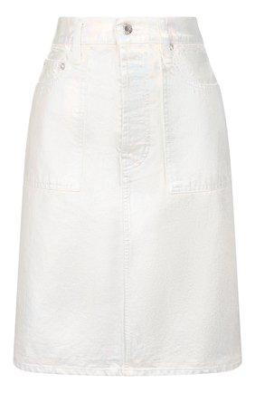 Женская джинсовая юбка HELMUT LANG серебряного цвета, арт. K01DW301 | Фото 1