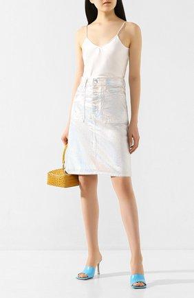 Женская джинсовая юбка HELMUT LANG серебряного цвета, арт. K01DW301 | Фото 2