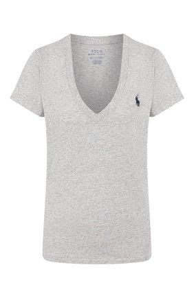 Женская хлопковая футболка POLO RALPH LAUREN серого цвета, арт. 211810419 | Фото 1