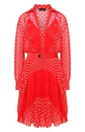 Женское платье с поясом ERMANNO ERMANNO SCERVINO красного цвета, арт. 46T AB76 FAN   Фото 1