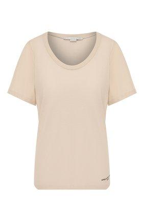 Женская хлопковая футболка STELLA MCCARTNEY бежевого цвета, арт. 600780/SNW94 | Фото 1