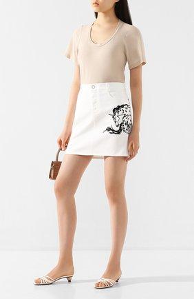 Женская хлопковая футболка STELLA MCCARTNEY бежевого цвета, арт. 600780/SNW94 | Фото 2