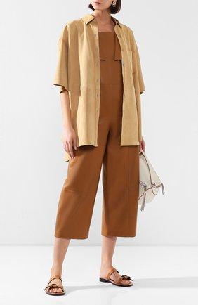 Женский кожаный комбинезон TWINS FLORENCE коричневого цвета, арт. TWFPE20TUT0003 | Фото 2