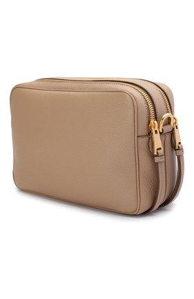 Женская сумка PRADA бежевого цвета, арт. IBH082-2BBE-F0770-NOM   Фото 2 (Материал: Натуральная кожа; Размер: small; Ремень/цепочка: На ремешке; Сумки-технические: Сумки через плечо)
