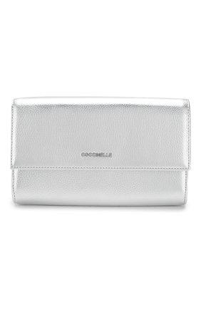 Женские кожаный кошелек на цепочке COCCINELLE серебряного цвета, арт. E2 FW5 11 07 01 | Фото 1