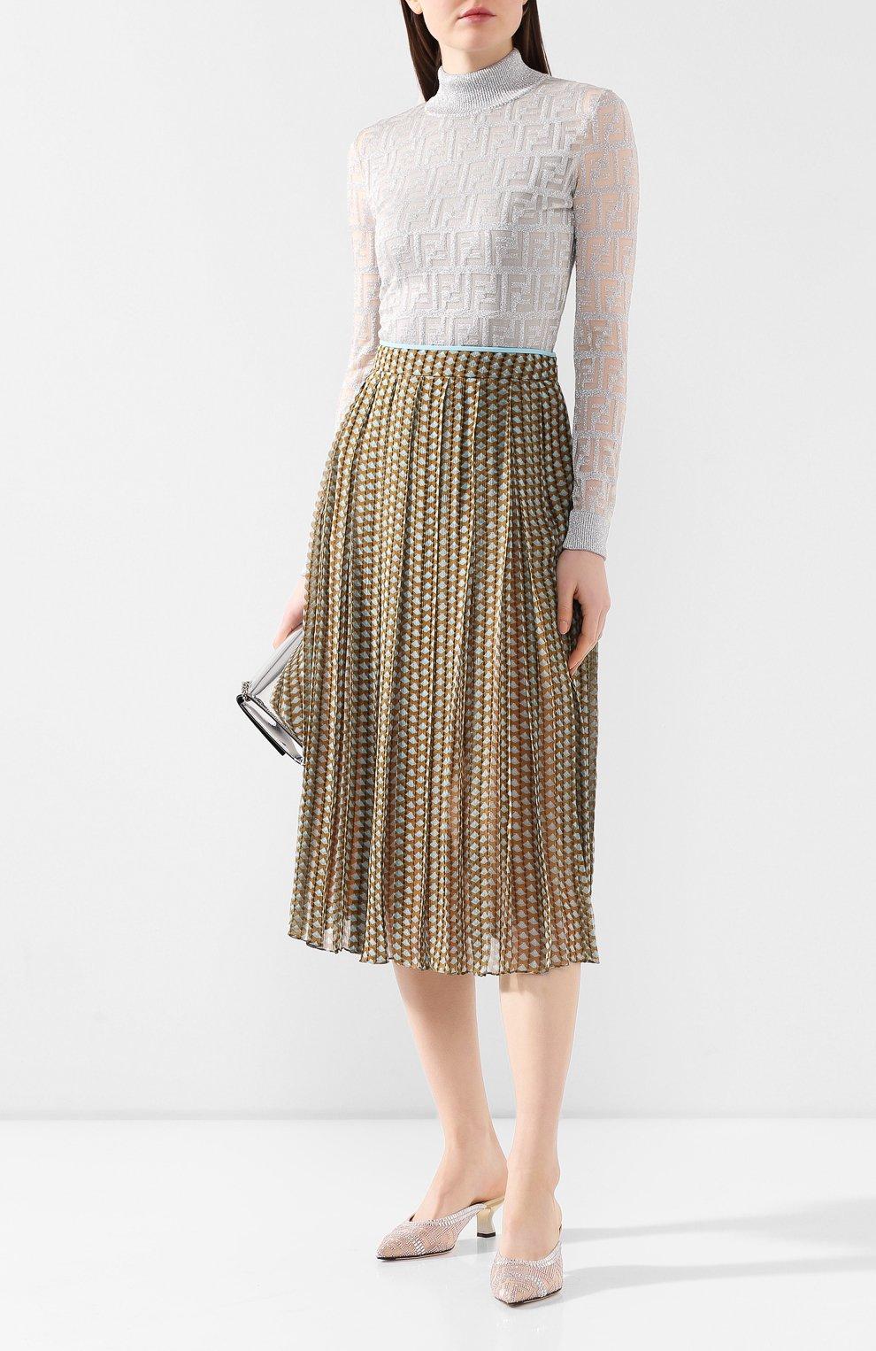 Женские текстильные мюли FENDI белого цвета, арт. 8R7039 A8U8 | Фото 2