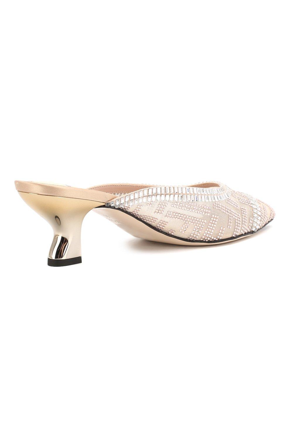 Женские текстильные мюли FENDI белого цвета, арт. 8R7039 A8U8 | Фото 4