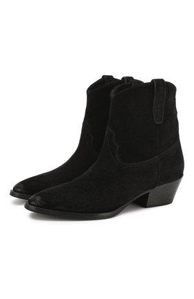 Женские замшевые ботинки west SAINT LAURENT черного цвета, арт. 620087/1NZ00   Фото 1