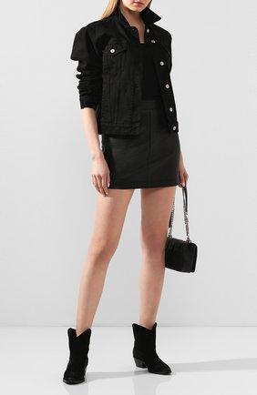 Женские замшевые ботинки west SAINT LAURENT черного цвета, арт. 620087/1NZ00   Фото 2