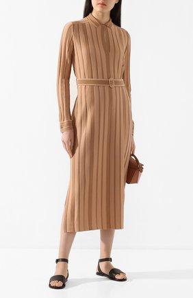 Женские кожаные сандалии thirasia LORO PIANA коричневого цвета, арт. FAL1145 | Фото 2