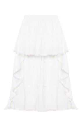 Детская хлопковая юбка DONDUP белого цвета, арт. YG114/TY0034/PTD | Фото 1