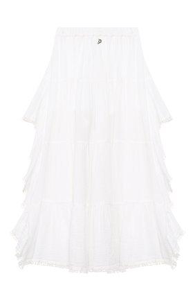Детская хлопковая юбка DONDUP белого цвета, арт. YG114/TY0034/PTD | Фото 2